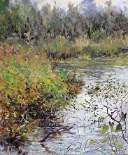 Pond in the Adirondacks by Nikolay Mikushkin Oil ~ 18 x 24