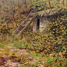 Well in the Cabin by Nikolay Mikushkin Oil ~ 18 x 18