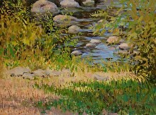 St. Regis Falls River Bank by Nikolay Mikushkin Oil ~ 24 x 18