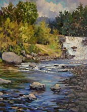 St. Regis Falls Downstream by Nikolay Mikushkin Oil ~ 22 x 28