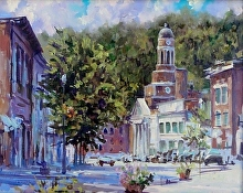 Main Street, Saranac Lake by Nikolay Mikushkin Oil ~ 16 x 20