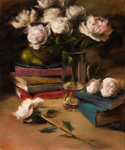 """Peonies and Stacked Books by Pamela Blaies Oil ~ 24"""" x 20"""""""