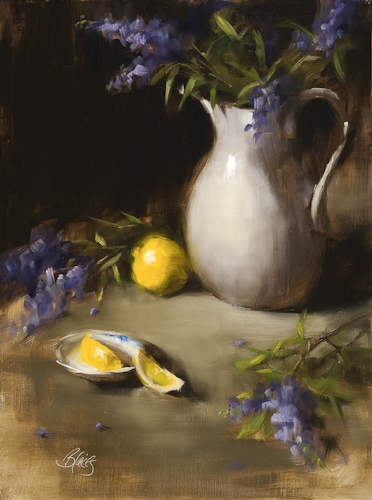 Texas Lilacs and Lemon Slices - Oil
