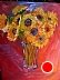 Dancing Sunflowers by Amity Perry Oil ~ 16 x 12