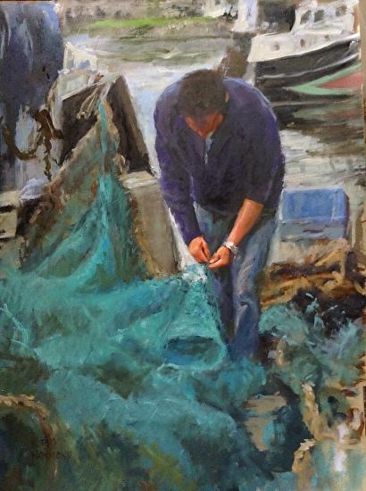 Repairing the Nets-Honfleur, France - Oil