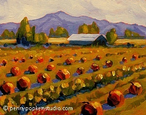 Adobe Road Pumpkin Patch (#9) by Penny Popken Oil ~ 8 x 10