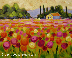 At the Dahlia Farm (#78) by Penny Popken Oil ~ 8 x 10