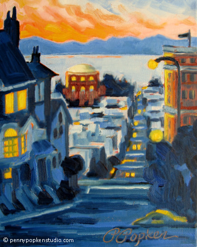 Night Falls in the City (#128) by Penny Popken Oil ~ 8 x 10