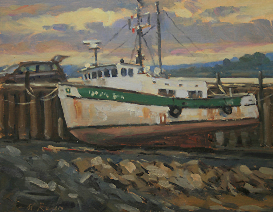 Scallop Dragger at Low Tide - Oil