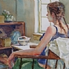Tea Time by William Rogers Watercolor ~ 14 inches x 17 inches