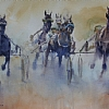 Inverness Action by William Rogers Watercolor ~ 12inches x 21 inches