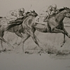Racing Action by William Rogers Charcoal ~ 18 inches x 24 inches
