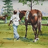 Before the Race, Woodbine by William Rogers Watercolor ~ 10.25 inches x 14 inches