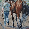 "Back to the Barn by William Rogers Watercolor ~ 14"" x 10"""