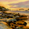 Sunrise at Tenants Harbor by William Rogers Watercolor ~ 10.5 x 14
