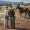 Backstretch Discussion by William Rogers Oil ~ 10 x 14