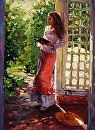 """Late Afternoon Reading"" by Tracey Frugoli Oil ~ 12 x 9"