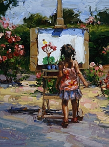 """Petite Plein Air"" by Tracey Frugoli Oil ~ 8 x 6"