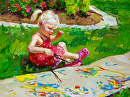 """Little Garden Painter"" by Tracey Frugoli Oil ~ 6 x 8"