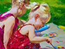 """Little Painters"" by Tracey Frugoli Oil ~ 6 x 8"