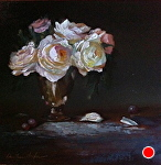 David Austin Roses in Silver by Christine Hooker Oil ~ 6 x 6