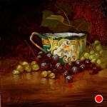 Reds & Greens in the Vineyard by Christine Hooker Oil ~ 6 x 6