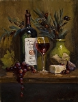 Merlot & English Cheddar by Christine Hooker Oil ~ 12 x 9