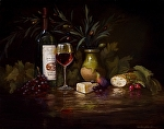 English Cheddar & Italian Wine by Christine Hooker Oil ~ 16 x 20