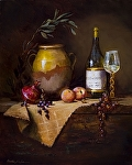 Peachy Chardonnay with Grapes by Christine Hooker Oil ~ 20 x 16