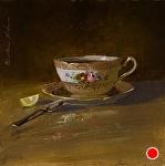 Afternoon Tea Break by Christine Hooker Oil ~ 6 x 6