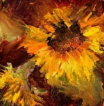 Sunflower III by Christine Hooker Oil ~ 6 x 6