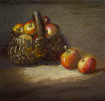 Egg Gathering Basket & Crabapples by Christine Hooker Oil ~ 6 x 6