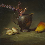 Silver & Shallots by Christine Hooker Oil ~ 6 x 6