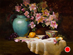 Azaleas, Turquoise and Famille Rose by Christine Hooker Oil ~ 12 x 16