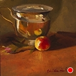 Ladyapple Reflection by Christine Hooker Oil ~ 6 x 6