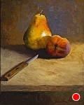 Pear? Pair? Pare? by Christine Hooker Oil ~ 10 x 8