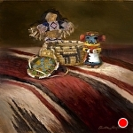 Toys for Tots by Christine Hooker Oil ~ 8 x 8