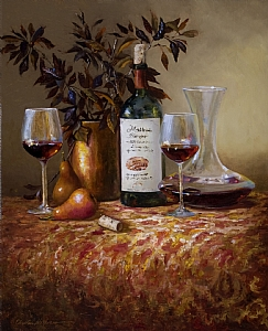 Chianti in Crystal Decanter & Pears by Christine Hooker Oil ~ 20 x 16