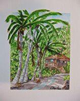 """BEACH ROAD by LARRY RENSLOW Watercolor ~ 16"""" WITH MAT x 12"""" WITH MAT"""