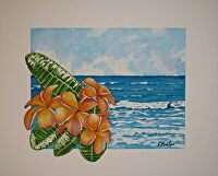 """THIS IS MAUI by LARRY RENSLOW Watercolor ~ 16"""" WITH MAT x 20"""" WITH MAT"""
