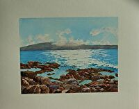 """MAUI TIDE POOLS by LARRY RENSLOW Watercolor ~ 16"""" WITH MAT x 20"""" WITH MAT"""