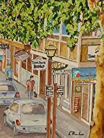 """FRONT STREET CRUISER by LARRY RENSLOW Watercolor ~ 20"""" WITH MAT x 16"""" WITH MAT"""