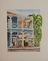 "A M at the PIONEER INN by LARRY RENSLOW Watercolor ~ 20""WITH MAT x 16""WITH MAT"
