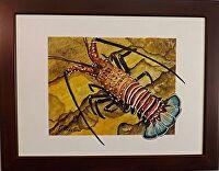 "HAWAIIAN ULA (lobster) by LARRY RENSLOW Watercolor ~ 12"" PLUS FRAME x 16"" PLUS FRAME"