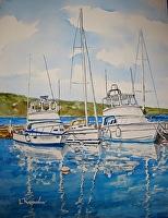 "HARBOR REFLECTIONS by LARRY RENSLOW Watercolor ~ 20"" PLUS MAT x 16"" PLUS MAT"