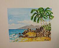 "KALAMA BEACH TO WEST MAUI by LARRY RENSLOW MIXED MEDIUM ~ 16"" PLUS FRAME x 20"" PLUS FRAME"