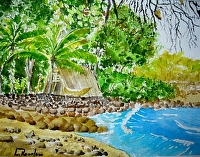 HAWAIIAN VILLAGE by LARRY RENSLOW Watercolor ~ 12 INCHES PLUS FRAME x 16 INCHES PLUS FRAME