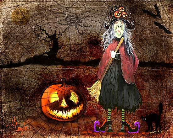 'Pumpkinella'~'The Magical Good Witch and her Magical Cat' - Acrylic/Mixed Media