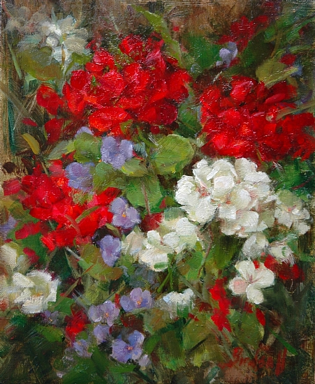 Geraniums by Stephanie Birdsall Oil ~ 1o x 8""