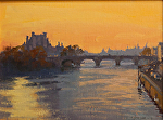 "Seine Sunrise - Paris by Mark Farina Oil ~ 12"" x 16"""